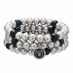 Oakland Raiders Three Pack Pearl Bracelets