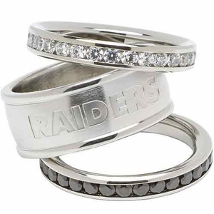 Oakland Raiders Three Pack Stackable Rings - Click to enlarge