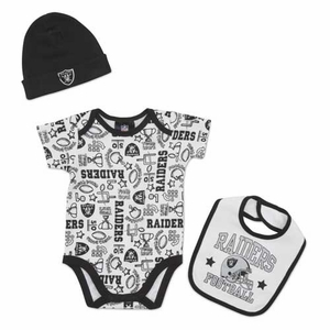 Oakland Raiders Three Piece Play Bodysuit Bib & Cap Set - Click to enlarge