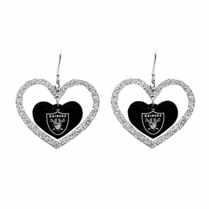 Oakland Raiders Glitter Heart Earrings - Click to enlarge