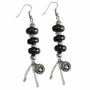 Oakland Raiders Touch Multi Bead Earrings - Click to enlarge