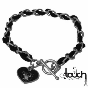 Oakland Raiders Touch Sueded Chain Bracelet - Click to enlarge