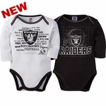 Oakland Raiders Two Pack Long Sleeve Bodysuit Set