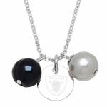 Oakland Raiders Two Pearl Charm Necklace