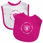 Oakland Raiders Two Piece Pink Baby Bibs