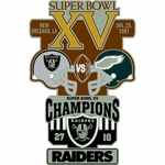 Oakland Raiders v Philadelphia Eagles Super Bowl Lapel Pin