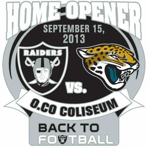 Oakland Raiders vs. Jacksonville Jaguars Back to Football Head to Head Lapel Pin - Click to enlarge