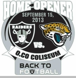 Oakland Raiders vs. Jacksonville Jaguars Back to Football Head to Head Lapel Pin