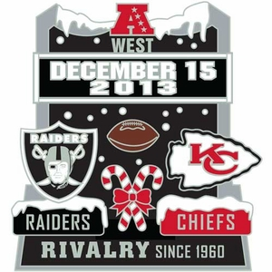Oakland Raiders vs. Kansas City Chiefs Head to Head Lapel Pin - Click to enlarge