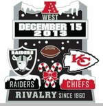 Oakland Raiders vs. Kansas City Chiefs Head to Head Lapel Pin