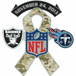Oakland Raiders vs. Tennessee Titans Salute to Service Head to Head Lapel Pin - Click to enlarge