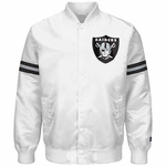 Oakland Raiders White Satin Starter Logo Jacket