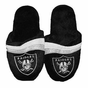 Oakland Raiders Womens Glitter Stripe Slipper - Click to enlarge