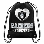 Oakland Raiders Womens Metallic Drawstring Bag
