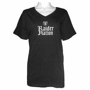 Oakland Raiders Womens Raider Nation Plus Size Vneck Tee - Click to enlarge