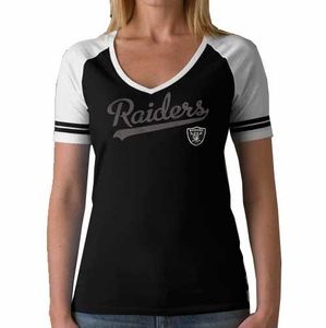 Oakland Raiders Womens Slugger Short Sleeve Tee - Click to enlarge