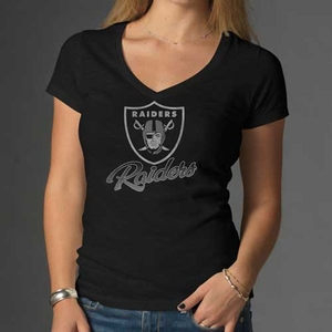 Oakland Raiders '47 Brand Womens V-Neck Scrum Short Sleeve Tee - Click to enlarge