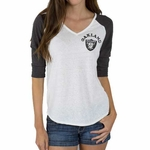 Oakland Raiders Womens Victory V-neck Tee