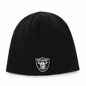 Oakland Raiders Youth Black Uncuffed Knit Hat - Click to enlarge