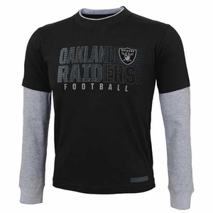 Oakland Raiders Youth Faux Layer Long Sleeve Tee - Click to enlarge
