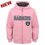 Oakland Raiders Youth Stated Pink Full Zip Sweatshirt