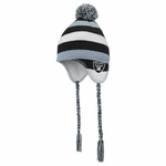 Oakland Raiders Youth Tassel Knit Hat with Pom