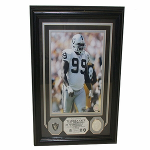 Oakland Warren Sapp Pin and Photo Mint Plaque - Click to enlarge