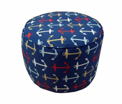 Anchors Away Small Round Pouf