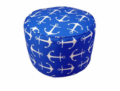 Anchors Cobalt Small Round Pouf