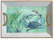 Blue Crab Bamboo Serving Tray