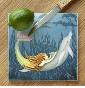 Mermaid & Dolphin Glass Cutting Board