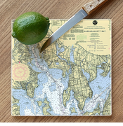 Nautical Chart Glass Cutting Board