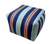 Nautical Stripe Square Pouf