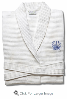 Waffle Weave Bathrobe with Blue Starfish - Click to enlarge