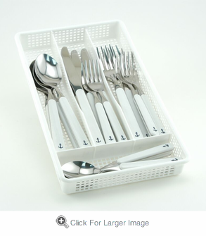 White Anchor Flatware Set - Click to enlarge