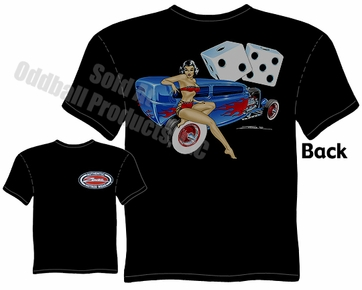 Hot Rods - 1932 Tudor Sedan Pinup Girl Black T-shirt