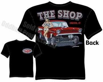 Hot Rods - 1957 Chevy Gasser Pinup Girl Black T-shirt