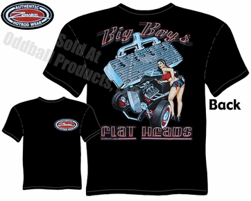 Hot Rods - Big Boys Flat Heads Roadster Black T-shirt