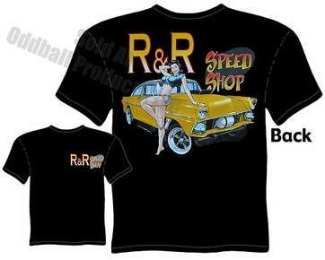 Hot Rods - Speed Shop 55 Gasser Pinup Girl Black T-shirt