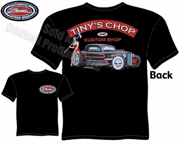 Hot Rods - Tiny's Chop & Kustom 33 34 Coupe Black T-shirt