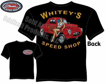 Hot Rods - Whitey's Speed Shop 1941 Willys Black T-shirt