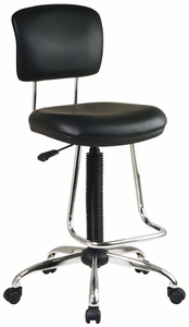 Adjustable Black & Chrome Drafting Stool [DC420V]
