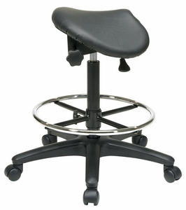 Work Smart Adjustable Saddle Seat Backless Drafting Stool ST205