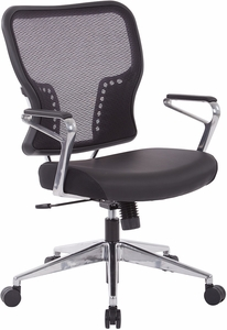 Air Grid® Back and Padded Bonded Leather Seat Office Chair [213-E37P91A7]