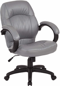 Deluxe Charcoal Grey Faux Leather Managers Chair with Padded Arms [FL605-U42]