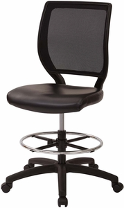 Deluxe Woven Mesh Back Armless Drafting Chair, Black Vinyl Seat [DC51000NV-3]