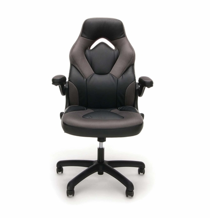 Essentials By Ofm Racing Style Gray Mesh Leather Gaming Chair