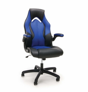 Essentials By Ofm Racing Style Blue Mesh Leather Gaming Chair
