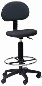 Mayline Office Stool with Footring - Black Fabric [2660]