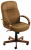 Microfiber Office Desk Chair with Wood Accent [B8386]